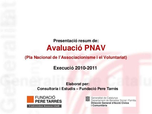 Presentació resum de:          Avaluació PNAV(Pla Nacional de l'Associacionisme i el Voluntariat)              Execució 20...