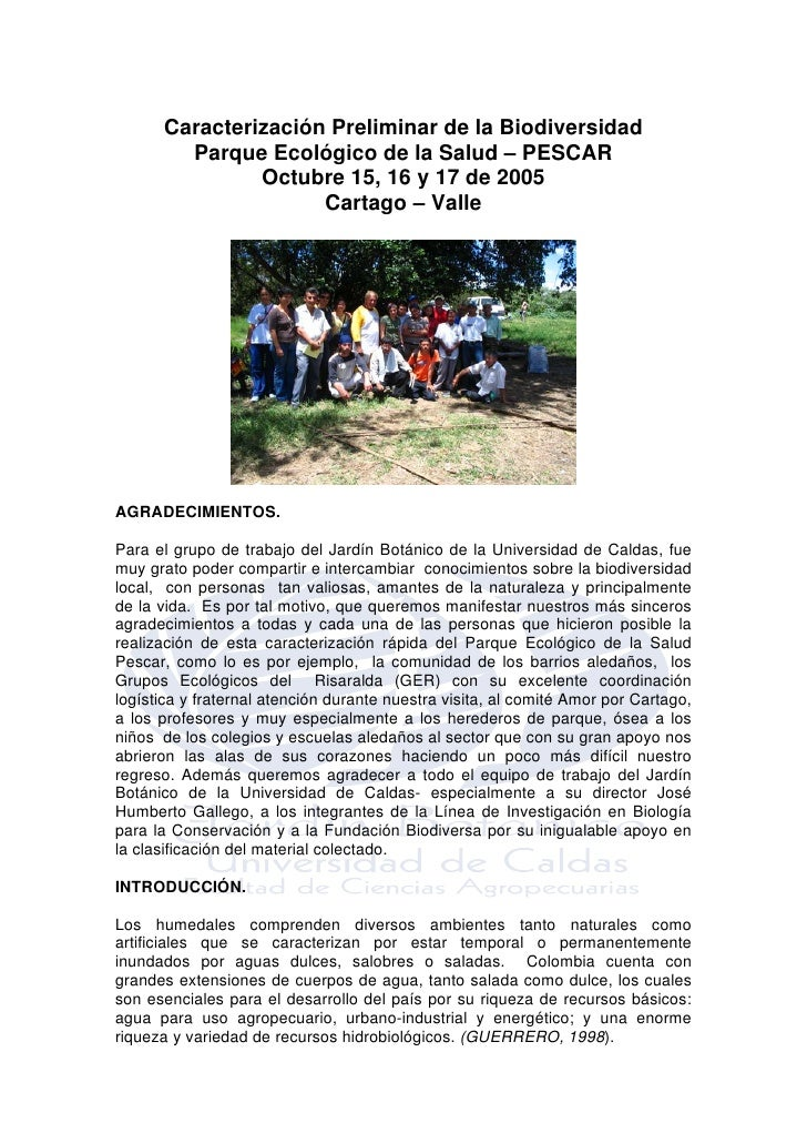 Caracterización Preliminar de la Biodiversidad         Parque Ecológico de la Salud – PESCAR                Octubre 15, 16...