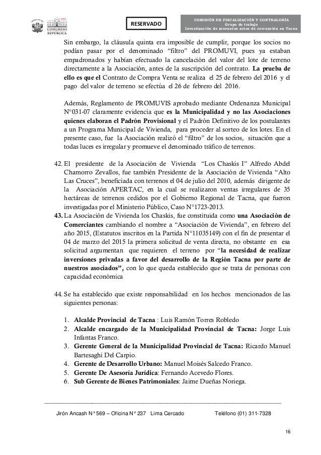 Informe fiscalizaci n casos de corrupcion en tacna for Clausula suelo oficina directa