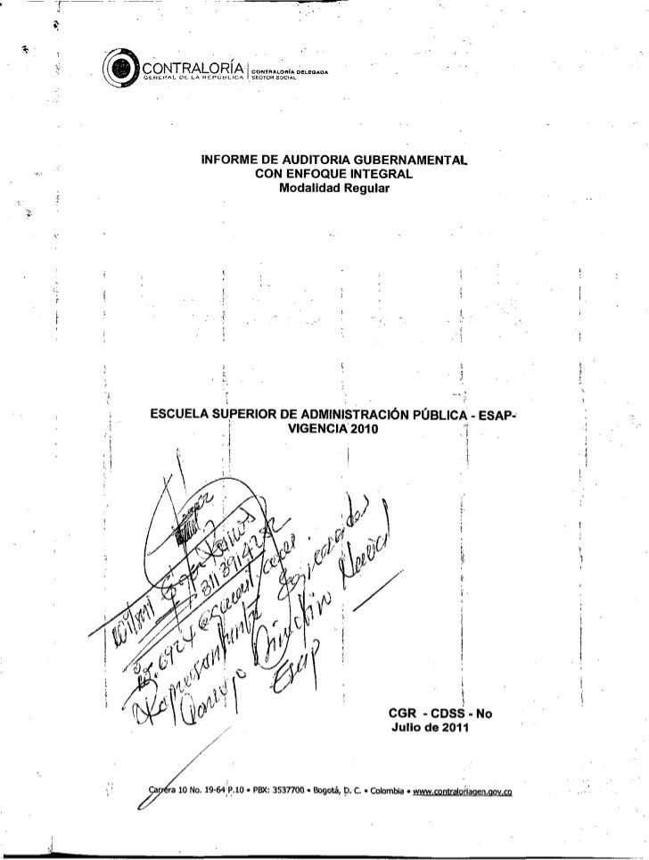 ESAP Informe final contraloria 2011 irregularidades