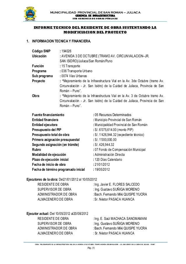 """MUNICIPALIDAD PROVINCIAL DE SAN ROMAN – JULIACA GERENCIA DE INFRAESTRUCTURA SUB GERENCIA DE OBRAS PÚBLICAS OBRA: """"MEJORAMI..."""