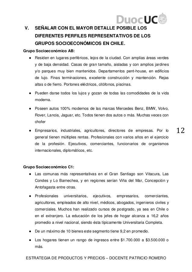 ESTRATEGIA DE PRODUCTOS Y PRECIOS – DOCENTE PATRICIO ROMERO 12 V. SEÑALAR CON EL MAYOR DETALLE POSIBLE LOS DIFERENTES PERF...