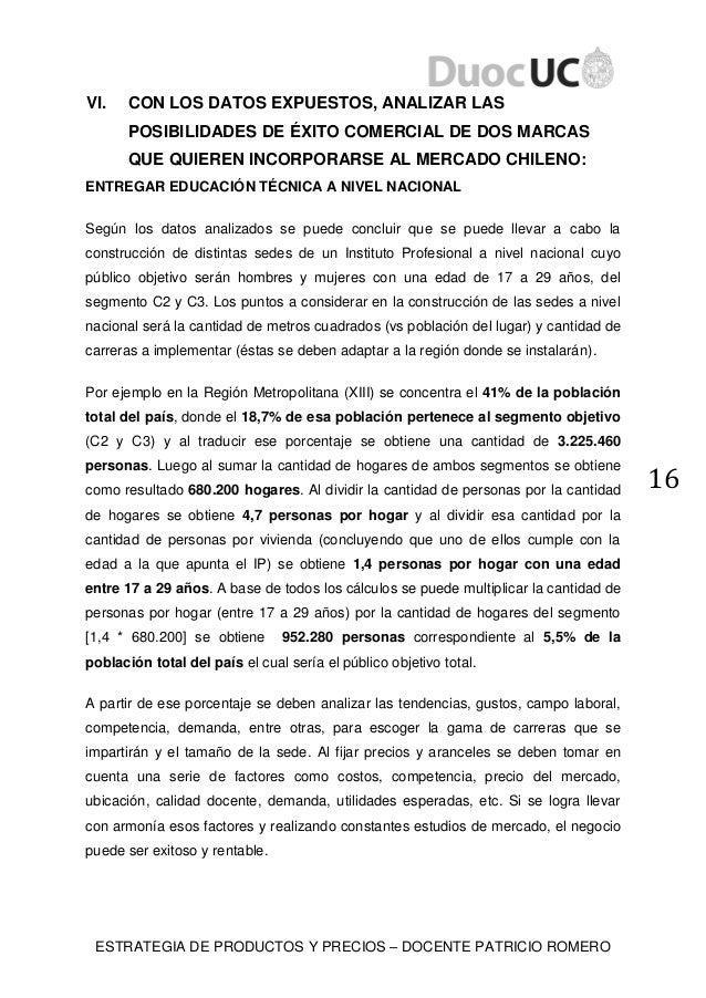 ESTRATEGIA DE PRODUCTOS Y PRECIOS – DOCENTE PATRICIO ROMERO 16 VI. CON LOS DATOS EXPUESTOS, ANALIZAR LAS POSIBILIDADES DE ...