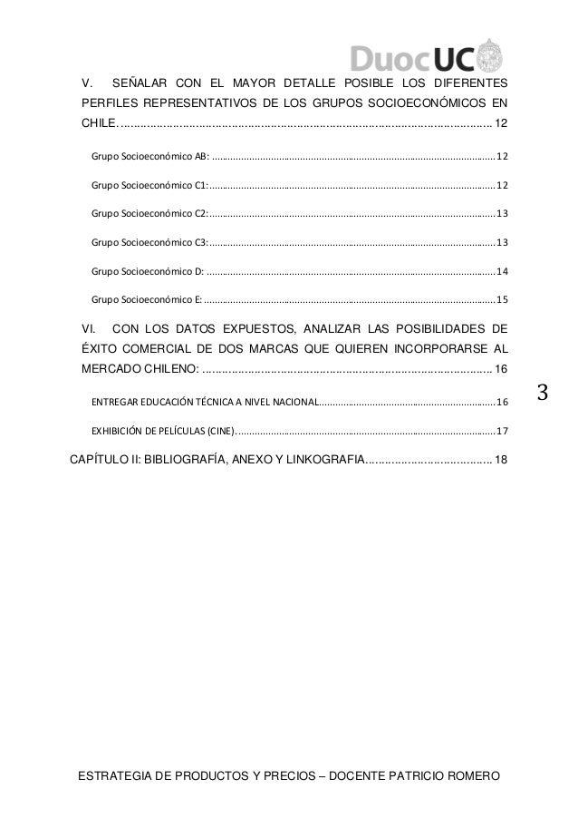 ESTRATEGIA DE PRODUCTOS Y PRECIOS – DOCENTE PATRICIO ROMERO 3 V. SEÑALAR CON EL MAYOR DETALLE POSIBLE LOS DIFERENTES PERFI...