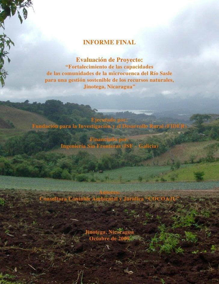 """INFORME FINAL                    Evaluación de Proyecto:               """"Fortalecimiento de las capacidades       de las co..."""