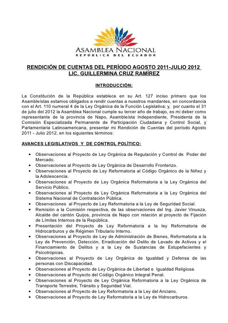 RENDICIÓN DE CUENTAS DEL PERÍODO AGOSTO 2011-JULIO 2012               LIC. GUILLERMINA CRUZ RAMÍREZ                       ...