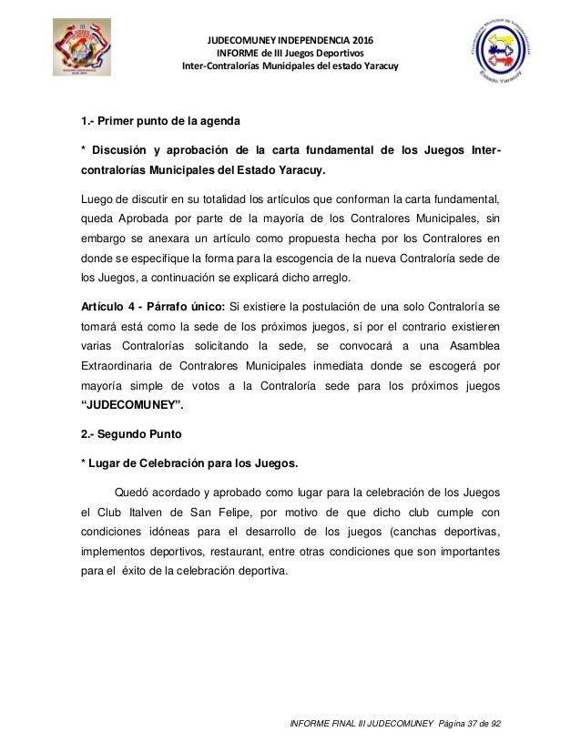 38 Juegos Deportivos Municipales Calendario.Informe Final Judecomuney 2016 Al 17 08 2016