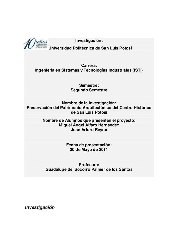 Universidad Politécnica de San Luis PotosíCarrera: Ingeniería en Sistemas y Tecnologías Industriales (ISTI)Semestre: Seg...