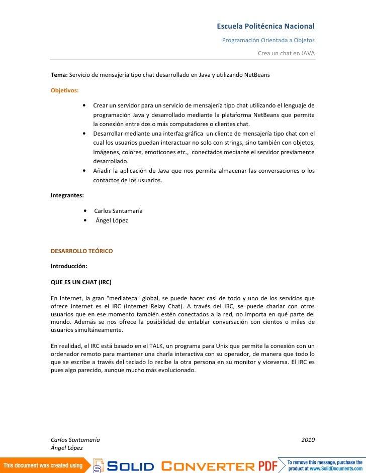 Escuela Politécnica Nacional                                                                  Programación Orientada a Obj...