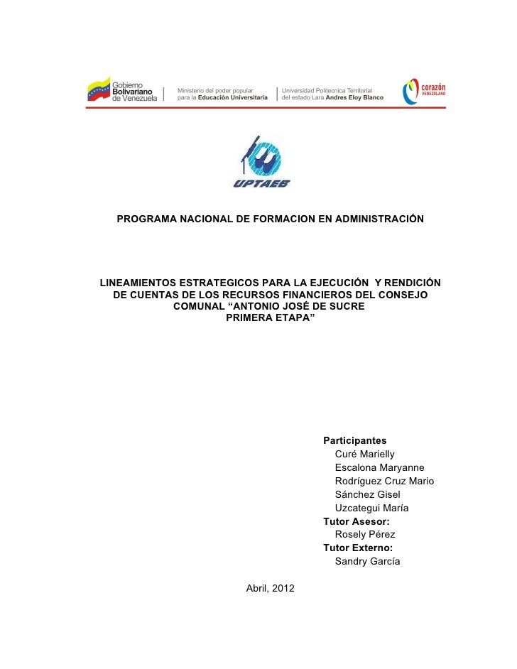 PROGRAMA NACIONAL DE FORMACION EN ADMINISTRACIÓNLINEAMIENTOS ESTRATEGICOS PARA LA EJECUCIÓN Y RENDICIÓN   DE CUENTAS DE LO...