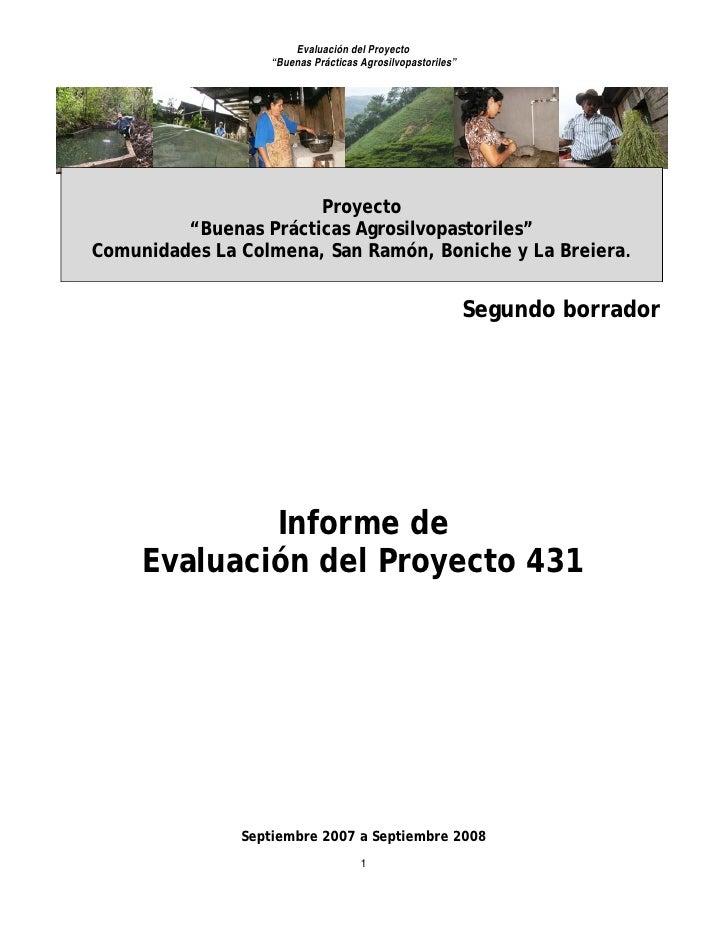 """Evaluación del Proyecto                    """"Buenas Prácticas Agrosilvopastoriles""""                            Proyecto     ..."""