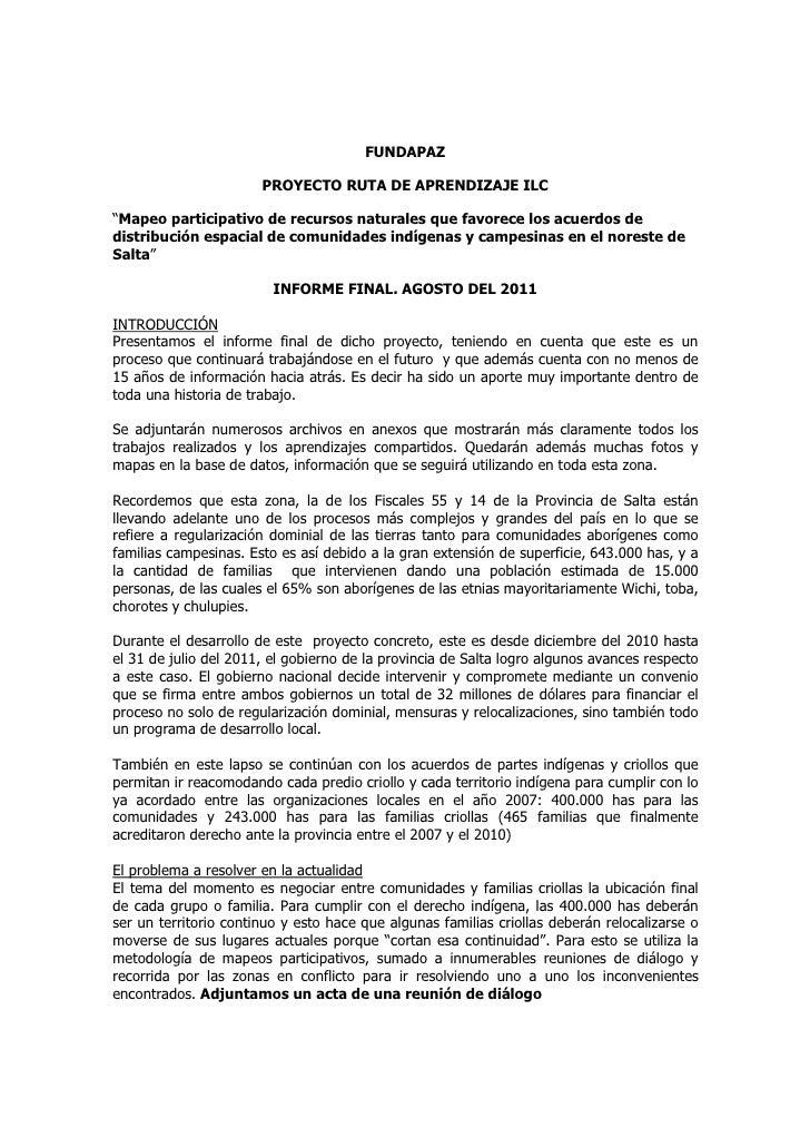 """FUNDAPAZ                       PROYECTO RUTA DE APRENDIZAJE ILC""""Mapeo participativo de recursos naturales que favorece los..."""