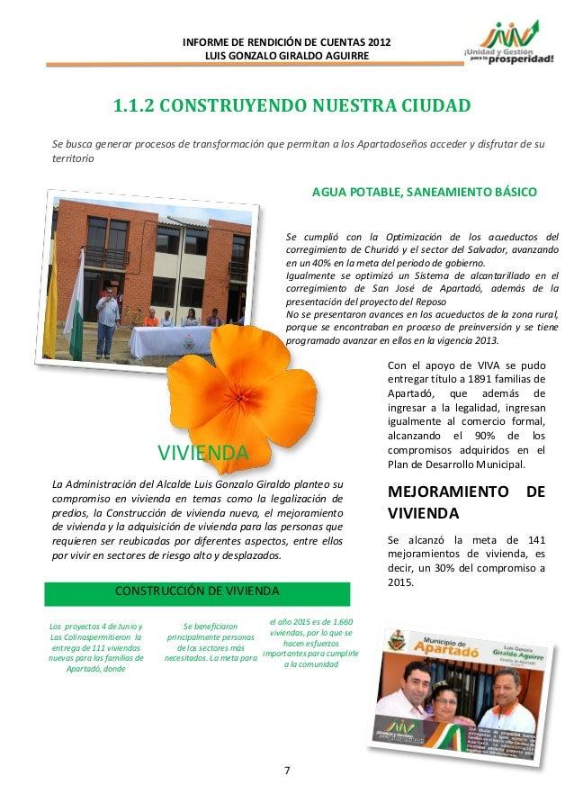 INFORME DE RENDICIÓN DE CUENTAS 2012                                      LUIS GONZALO GIRALDO AGUIRRE                  1....