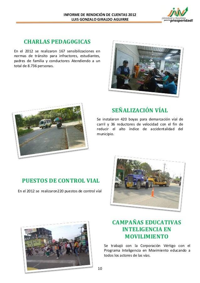 INFORME DE RENDICIÓN DE CUENTAS 2012                                 LUIS GONZALO GIRALDO AGUIRRE     CHARLAS PEDAG0GICASE...