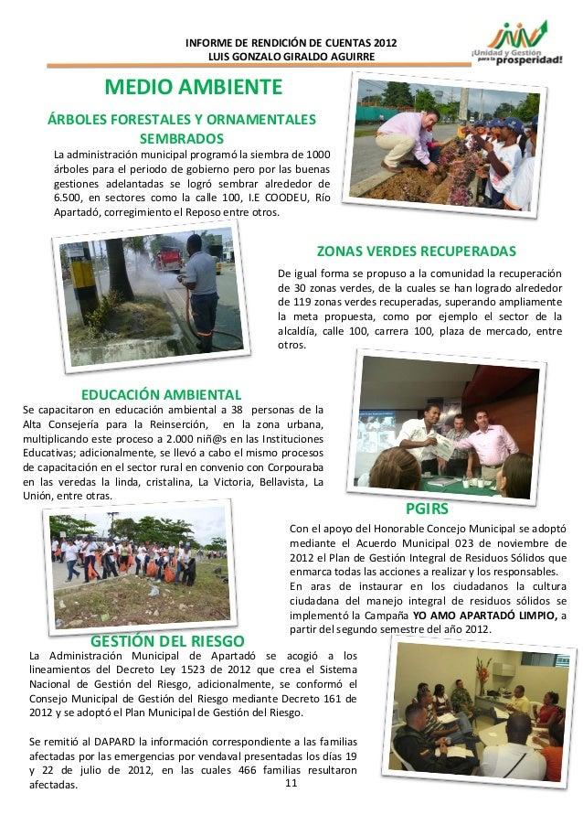 INFORME DE RENDICIÓN DE CUENTAS 2012                                      LUIS GONZALO GIRALDO AGUIRRE                 MED...