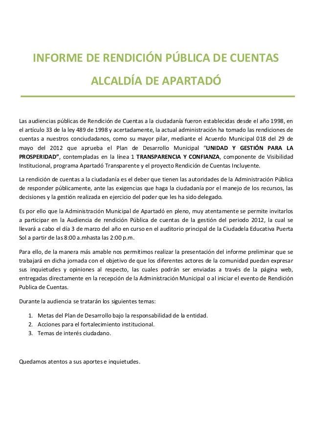 INFORME DE RENDICIÓN PÚBLICA DE CUENTAS                            ALCALDÍA DE APARTADÓLas audiencias públicas de Rendició...