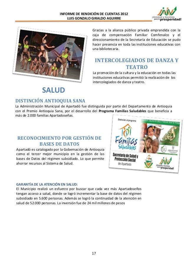 INFORME DE RENDICIÓN DE CUENTAS 2012                               LUIS GONZALO GIRALDO AGUIRRE                           ...