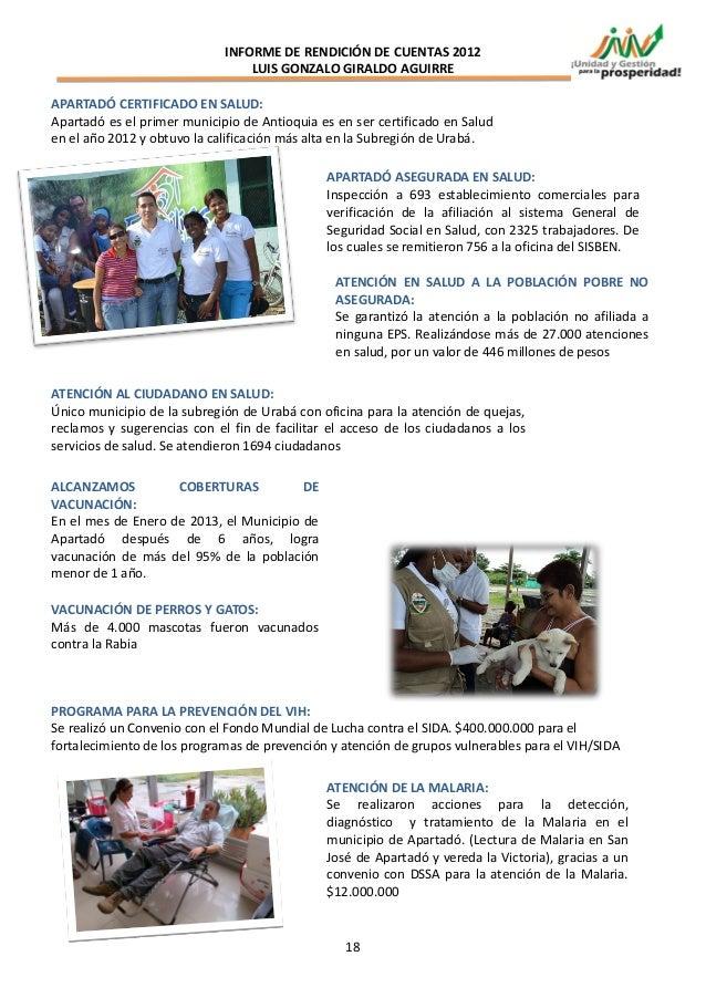 INFORME DE RENDICIÓN DE CUENTAS 2012                                 LUIS GONZALO GIRALDO AGUIRREAPARTADÓ CERTIFICADO EN S...