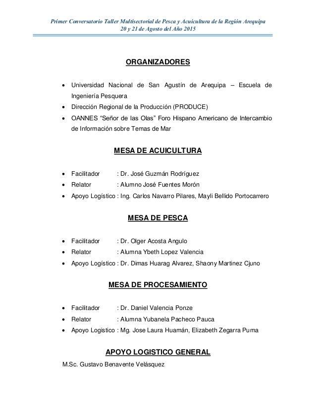 Informe final conversatorio taller multisectorial de pesca for Ing mesa y lopez