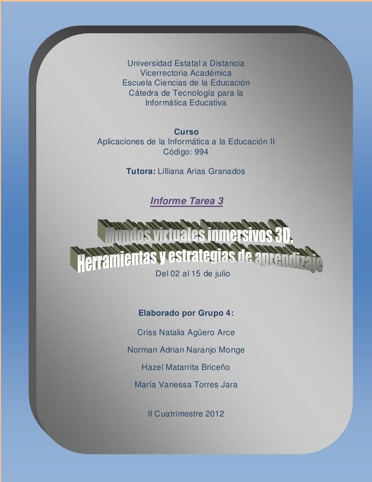 Universidad Estatal a Distancia          Vicerrectoria Académica      Escuela Ciencias de la Educación       Cátedra de Te...