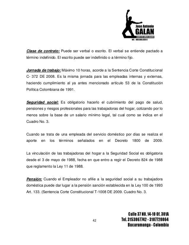 informe final trabajadoras del hogar en colombia 1 On contrato de trabajadora del hogar