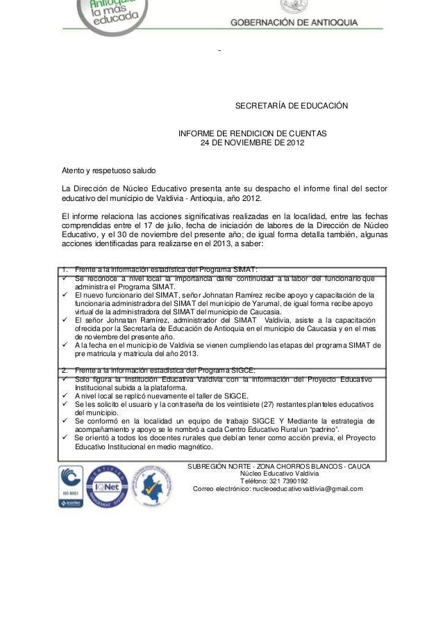 –                                                      SECRETARÍA DE EDUCACIÓN                                    INFORME ...