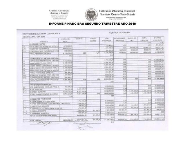 INFORME FINANCIERO SEGUNDO TRIMESTRE A�O 2018