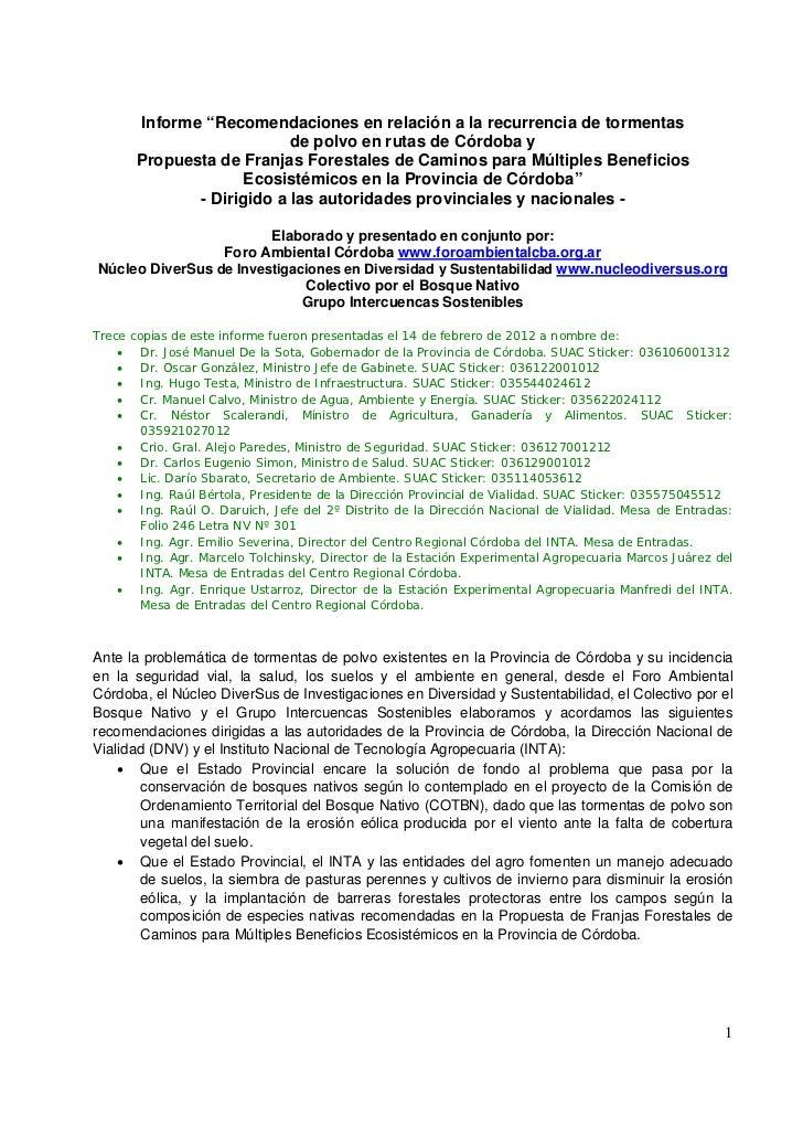 """Informe """"Recomendaciones en relación a la recurrencia de tormentas                           de polvo en rutas de Córdoba ..."""