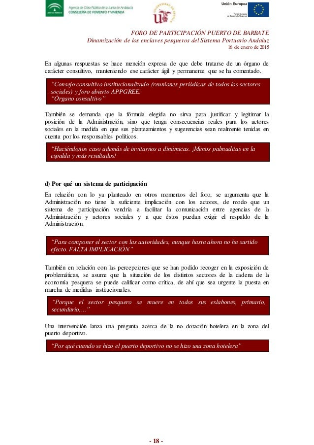 FORO DE PARTICIPACIÓN PUERTO DE BARBATE Dinamización de los enclaves pesqueros del Sistema Portuario Andaluz 16 de enero d...