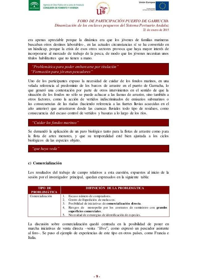Informe foro participativo puerto de garrucha - Trabajo en garrucha ...