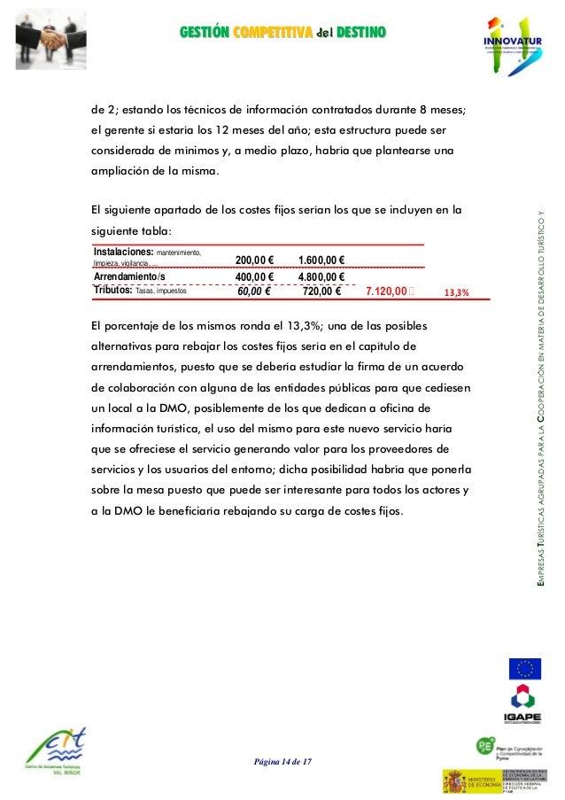 GGEESSTTIIÓÓNN CCOOMMPPEETTIITTIIVVAA ddeell DDEESSTTIINNOO Página 14 de 17 EMPRESASTURÍSTICASAGRUPADASPARALACOOPERACIÓNEN...