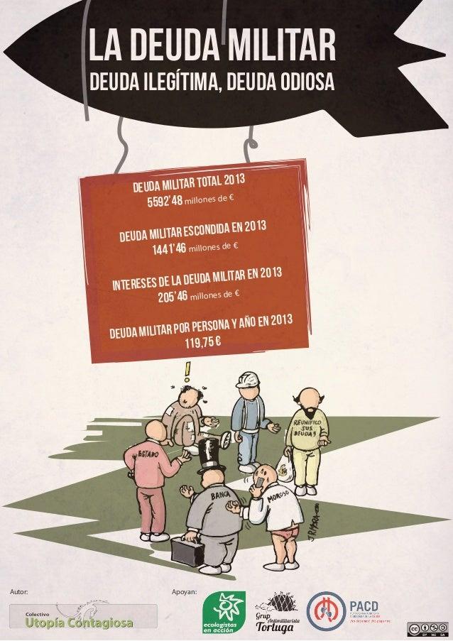 LA DEUDA MILITAR Deuda ilegítima, deuda odiosa  L 2013 DEUDA MILITAR TOTA € 5592'48 millones de A EN 2013 DA MILITAR ESCON...