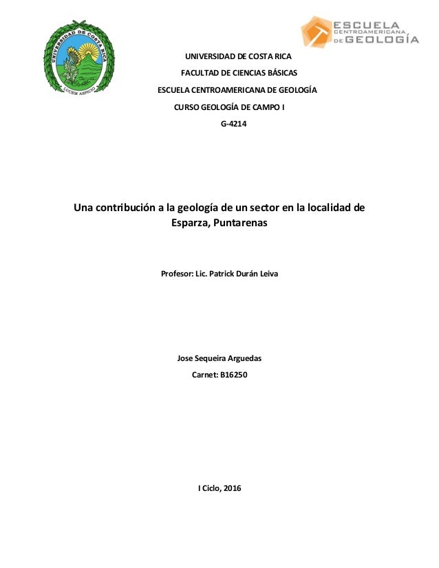 Informe geológico zona de Esparza, Pacífico central, Costa Rica: curs…