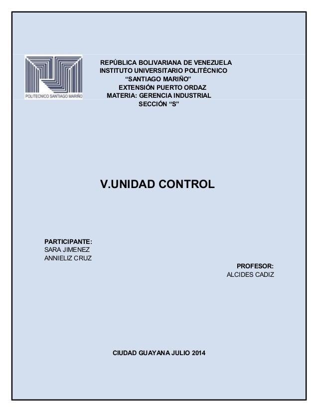"""REPÚBLICA BOLIVARIANA DE VENEZUELA INSTITUTO UNIVERSITARIO POLITÉCNICO """"SANTIAGO MARIÑO"""" EXTENSIÓN PUERTO ORDAZ MATERIA: G..."""