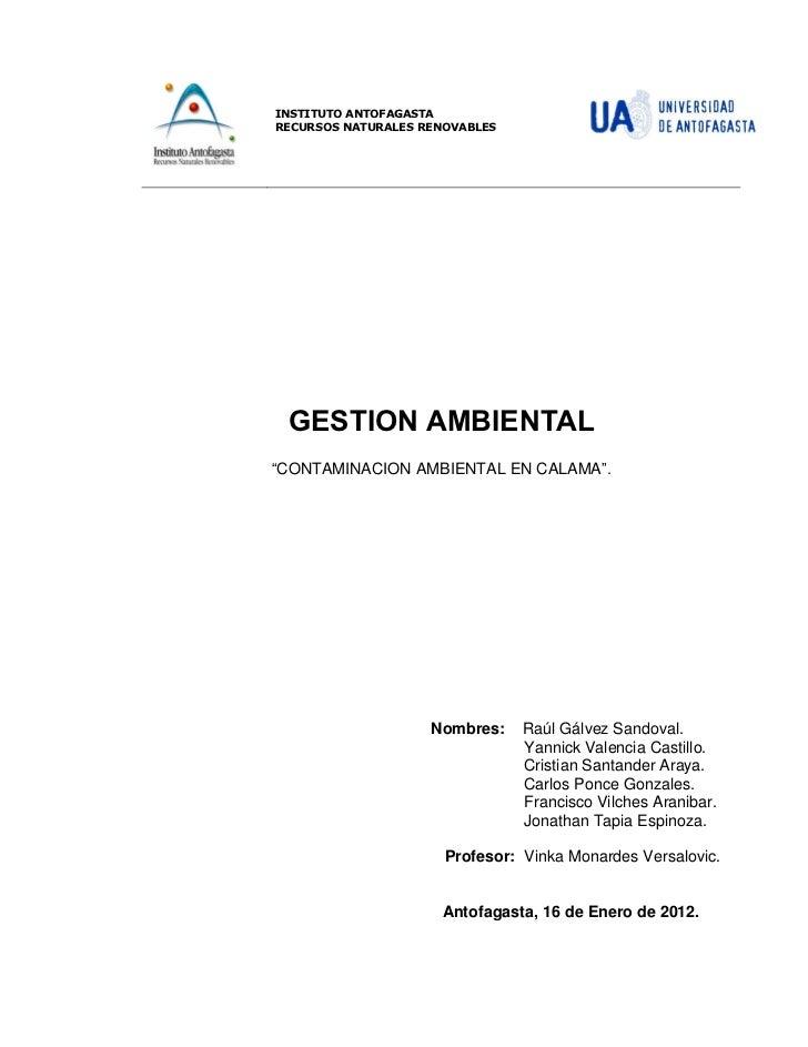 """INSTITUTO ANTOFAGASTARECURSOS NATURALES RENOVABLES GESTION AMBIENTAL""""CONTAMINACION AMBIENTAL EN CALAMA"""".                  ..."""