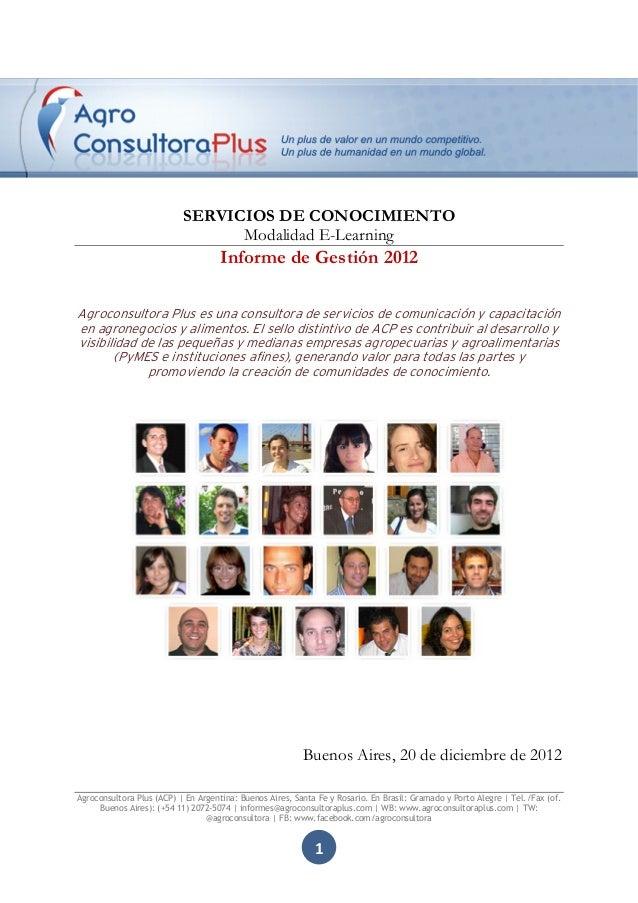 SERVICIOS DE CONOCIMIENTO                                 Modalidad E-Learning                                    Informe ...