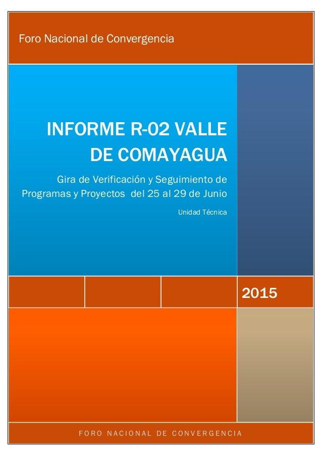 F O R O N A C I O N A L D E C O N V E R G E N C I A 2015 INFORME R-02 VALLE DE COMAYAGUA Gira de Verificación y Seguimient...