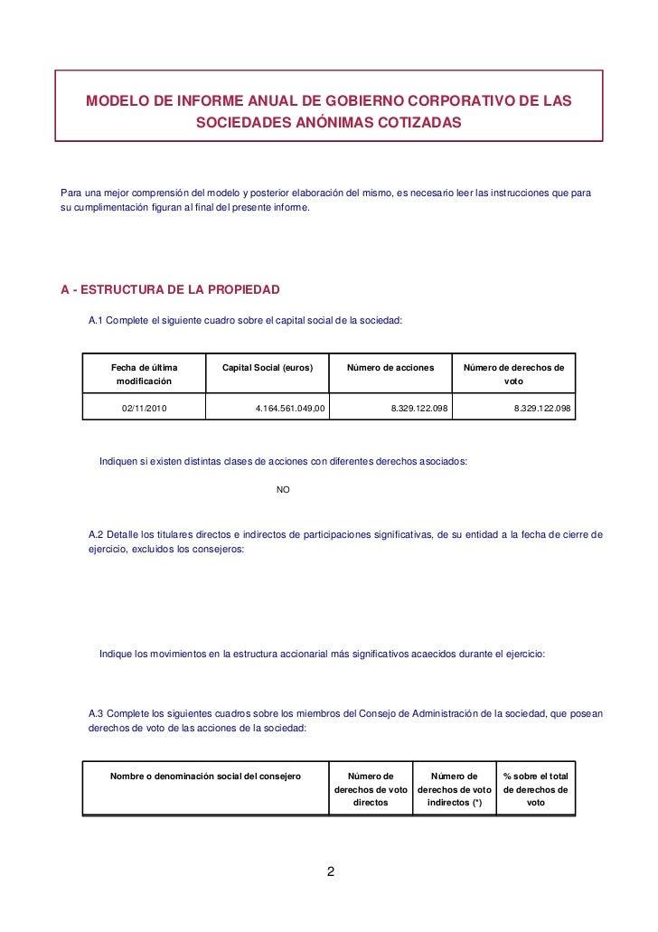 MODELO DE INFORME ANUAL DE GOBIERNO CORPORATIVO DE LAS                  SOCIEDADES ANÓNIMAS COTIZADASPara una mejor compre...