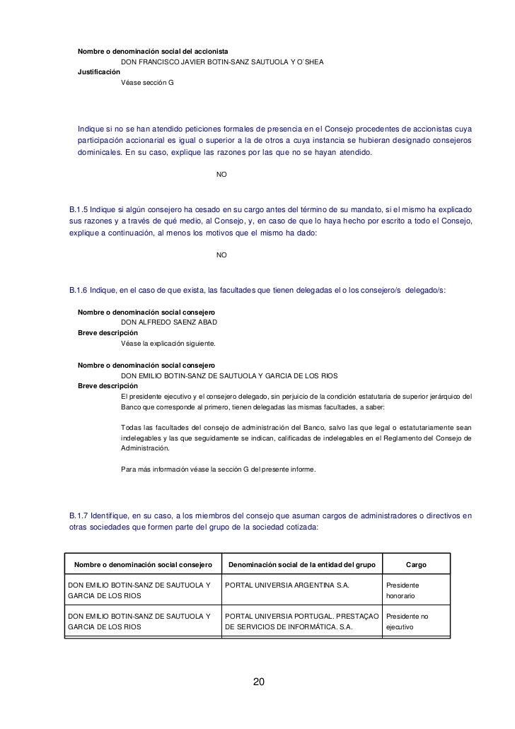 Nombre o denominación social del accionista                DON FRANCISCO JAVIER BOTIN-SANZ SAUTUOLA Y O´SHEA  Justificació...