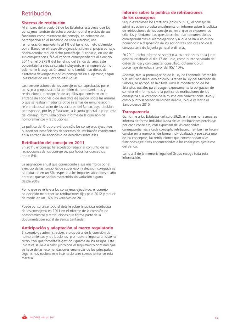 Retribución                                                          Informe sobre la política de retribuciones           ...
