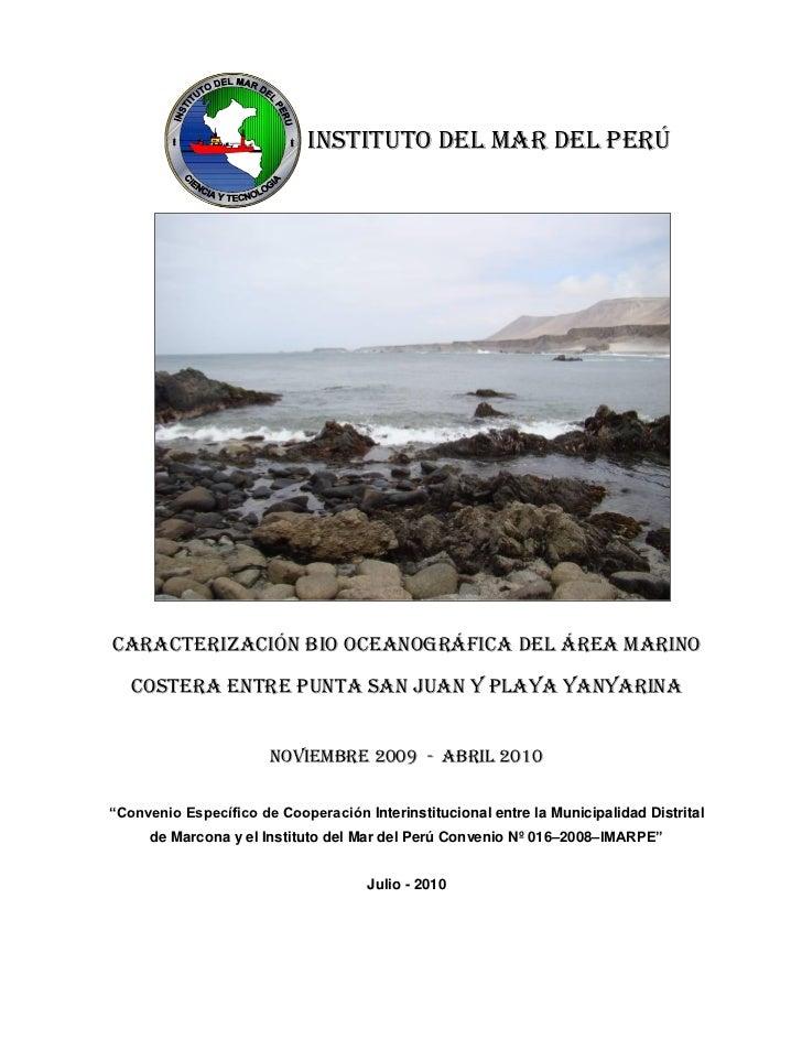 INSTITUTO DEL MAR DEL PERÚCARACTERIZACIÓN BIO OCEANOGRÁFICA DEL ÁREA MARINO   COSTERA ENTRE PUNTA SAN JUAN Y PLAYA YANYARI...