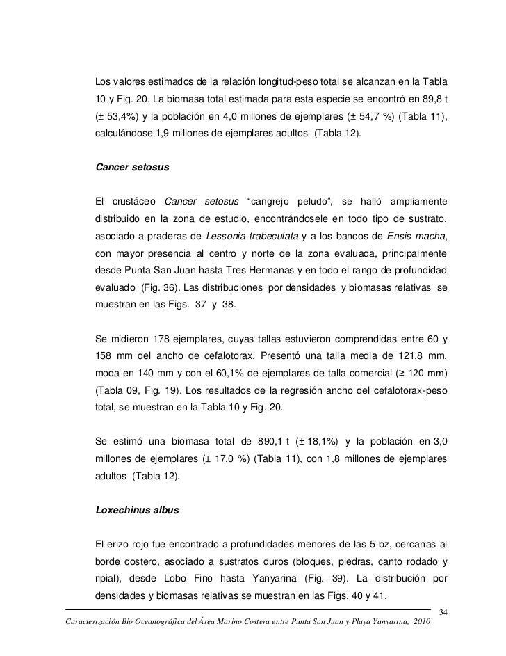 Los valores estimados de la relación longitud-peso total se alcanzan en la Tabla        10 y Fig. 20. La biomasa total est...