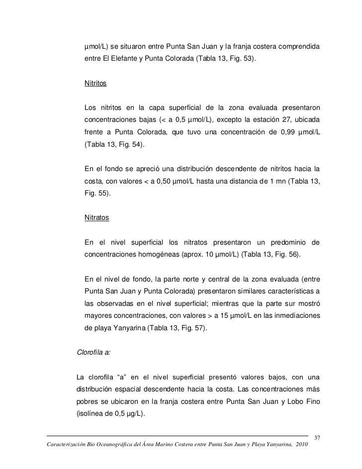 µmol/L) se situaron entre Punta San Juan y la franja costera comprendida              entre El Elefante y Punta Colorada (...