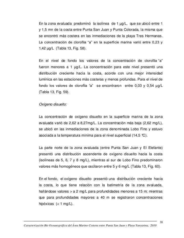 En la zona evaluada predominó la isolínea de 1 µg/L, que se ubicó entre 1           y 1,5 mn de la costa entre Punta San J...