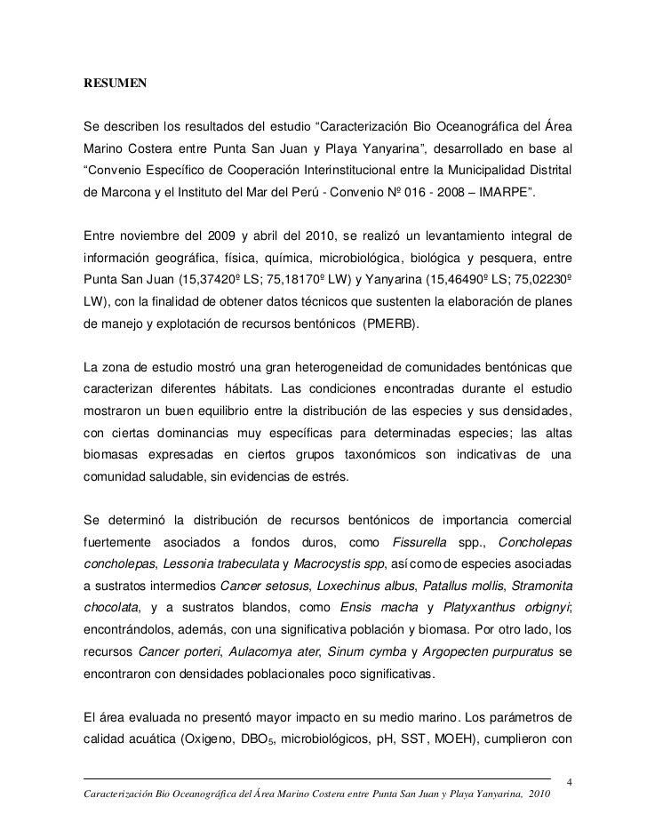 """RESUMENSe describen los resultados del estudio """"Caracterización Bio Oceanográfica del ÁreaMarino Costera entre Punta San J..."""