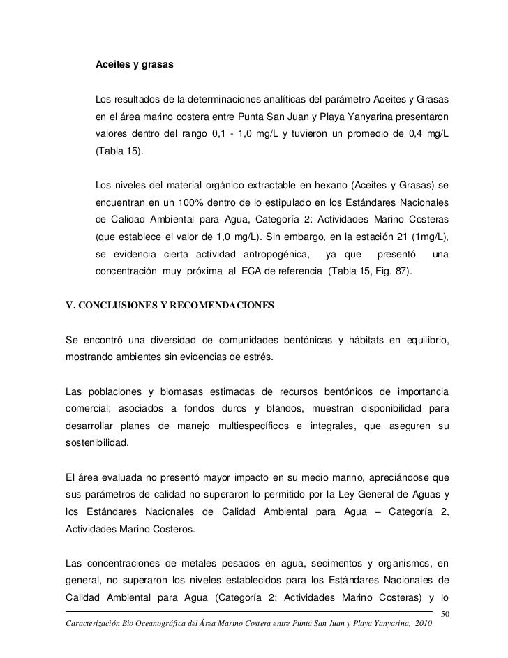 Aceites y grasas        Los resultados de la determinaciones analíticas del parámetro Aceites y Grasas        en el área m...