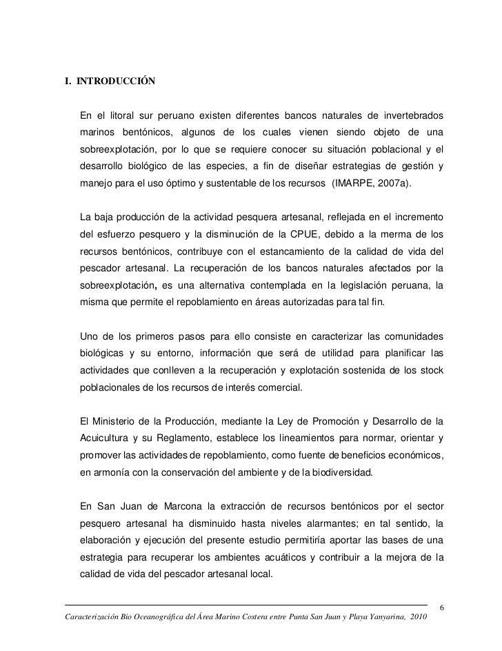 I. INTRODUCCIÓN    En el litoral sur peruano existen diferentes bancos naturales de invertebrados    marinos bentónicos, a...
