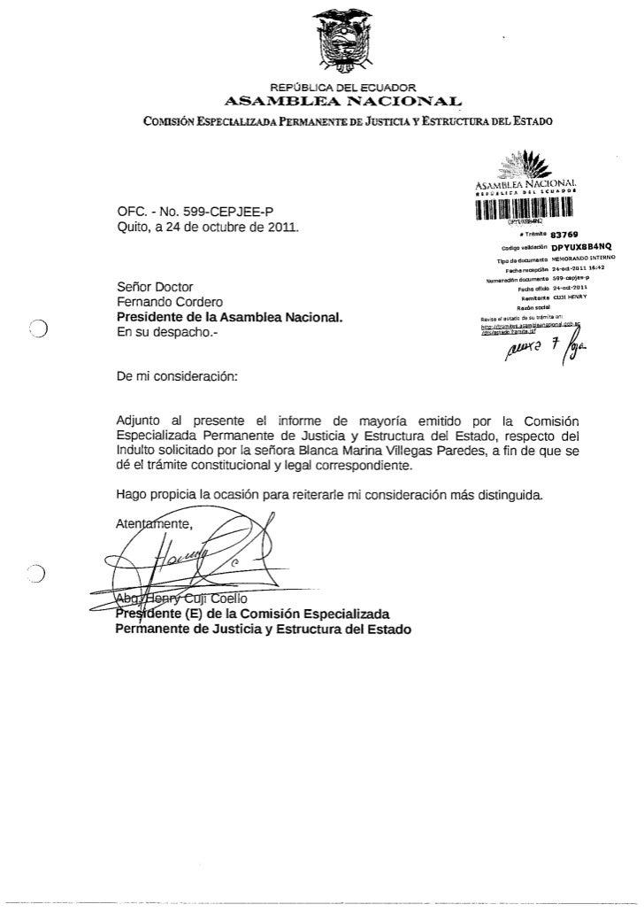 Informe Indulto solicitado por Blanca Mariana Villegas Paredes