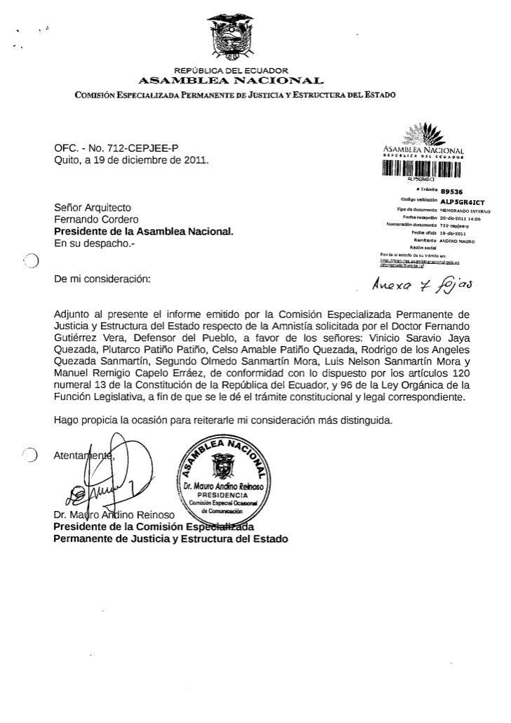 Informe Solicitud de Amnistía solicitada por la Defensoría del Pueblo