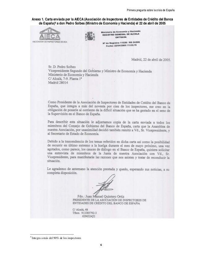 Primera pregunta sobre la crisis de España    Anexo 1. Carta enviada por la AIECA (Asociación de Inspectores de Entidades ...
